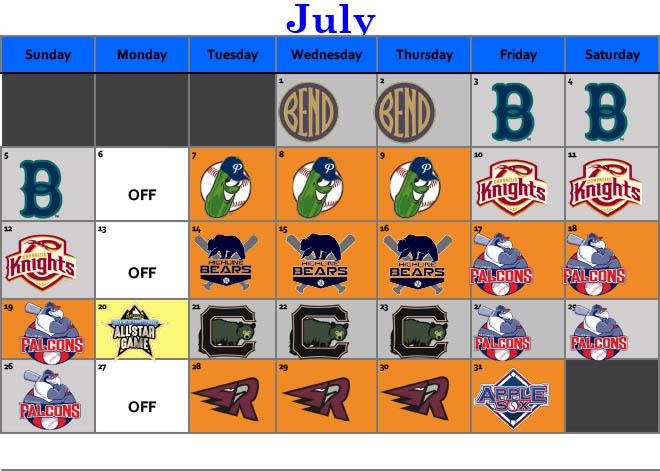July 2020 Schedule