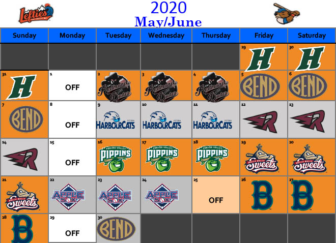 May and June 2020 Schedule